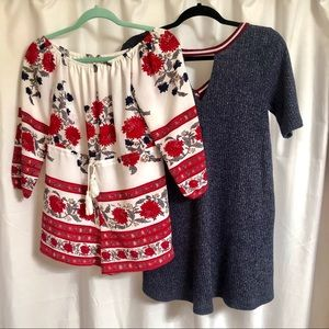 2/$24 Red Flower Romper and Blue T-shirt Dress